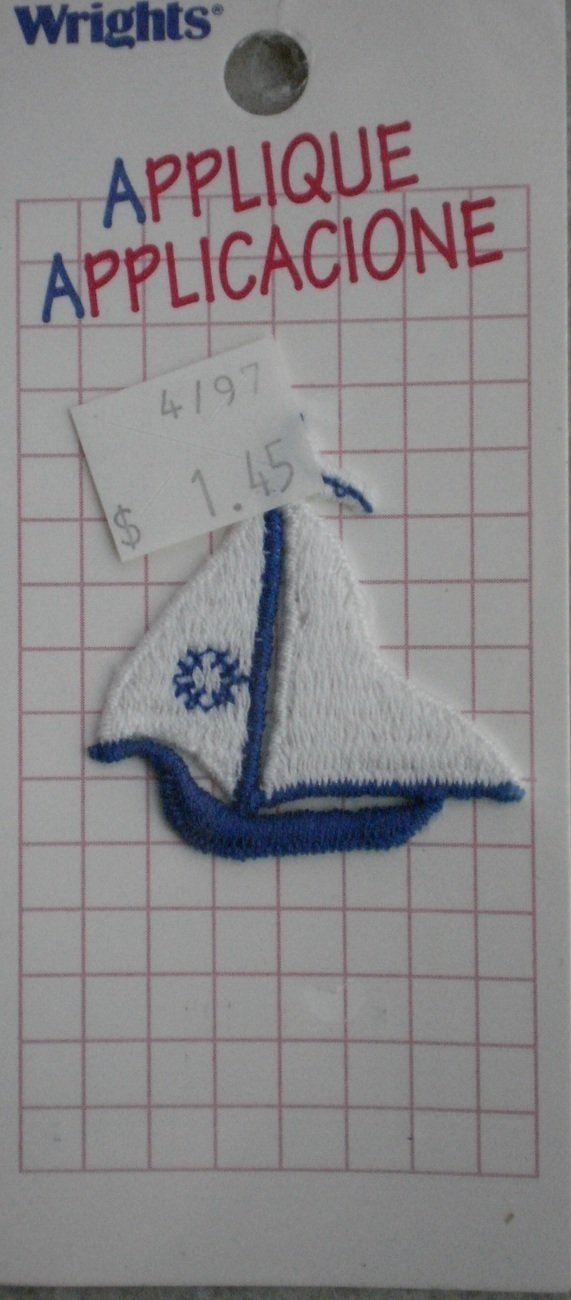 Wrights Applique Sailboat Boat Sew-on 1/card 106