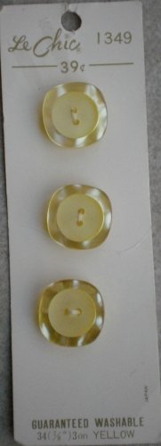 Le Chic Buttons Plastic Yellow 3/card 7/8in Japan Vintage Square