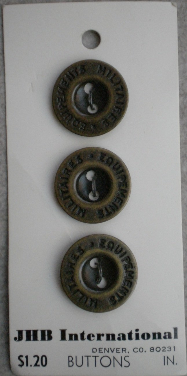 JHB International Buttons Military Style 3/4in 2-hole Brass