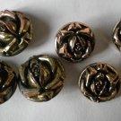 Rose Buttons Gold Plasitc Vintage 2 sizes Lot 6