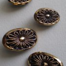 Lot 4 Gold-Tone Oval Flower Buttons Plastic Shank