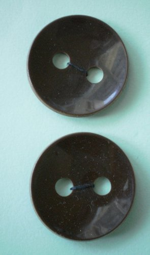 Plastic Brown Buttons Large 2-hole 1.5in Vintage Lot 2