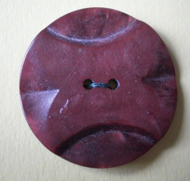 Large Button Art Deco Plastic Brown 2-hole 1.25in Carved