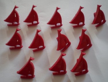Red Sailboat Buttons Plastic Boats Lot 12 Vintage Children Sewing Crafts 12x15mm