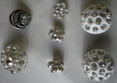 Rhinestone Buttons Lot 7 Variety Vintage Flower Dome