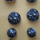 Mirror Back Buttons Vintage Lot 8 Metal Shank 2 sizes
