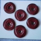 Red Buttons Triangle Circle Lot 6 Plastic 3-hole Burgundy