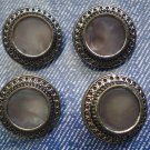 Vintage Metal Silver-Tone Mother of Pearl Buttons Lot 4