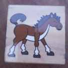 Rubber Stamp Horse Mounted Wood Animal 3.5x3.5