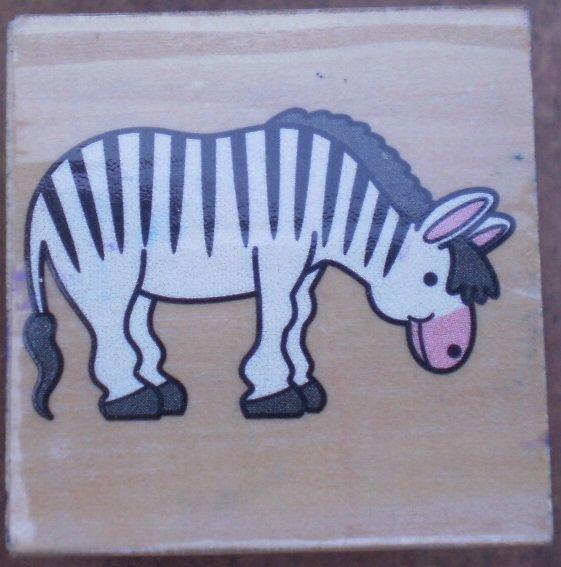 Rubber Stamp Zebra Mounted Wood Animal 3.5x3.5
