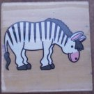 Rubber Stamp Zebra Mounted Wood Animal 3.5x3.5