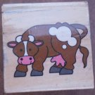 Rubber Stamp Cow Mounted Wood Animal 3.5x3.5