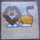 Rubber Stamp Lion Mounted Wood Animal 3.5x3.5