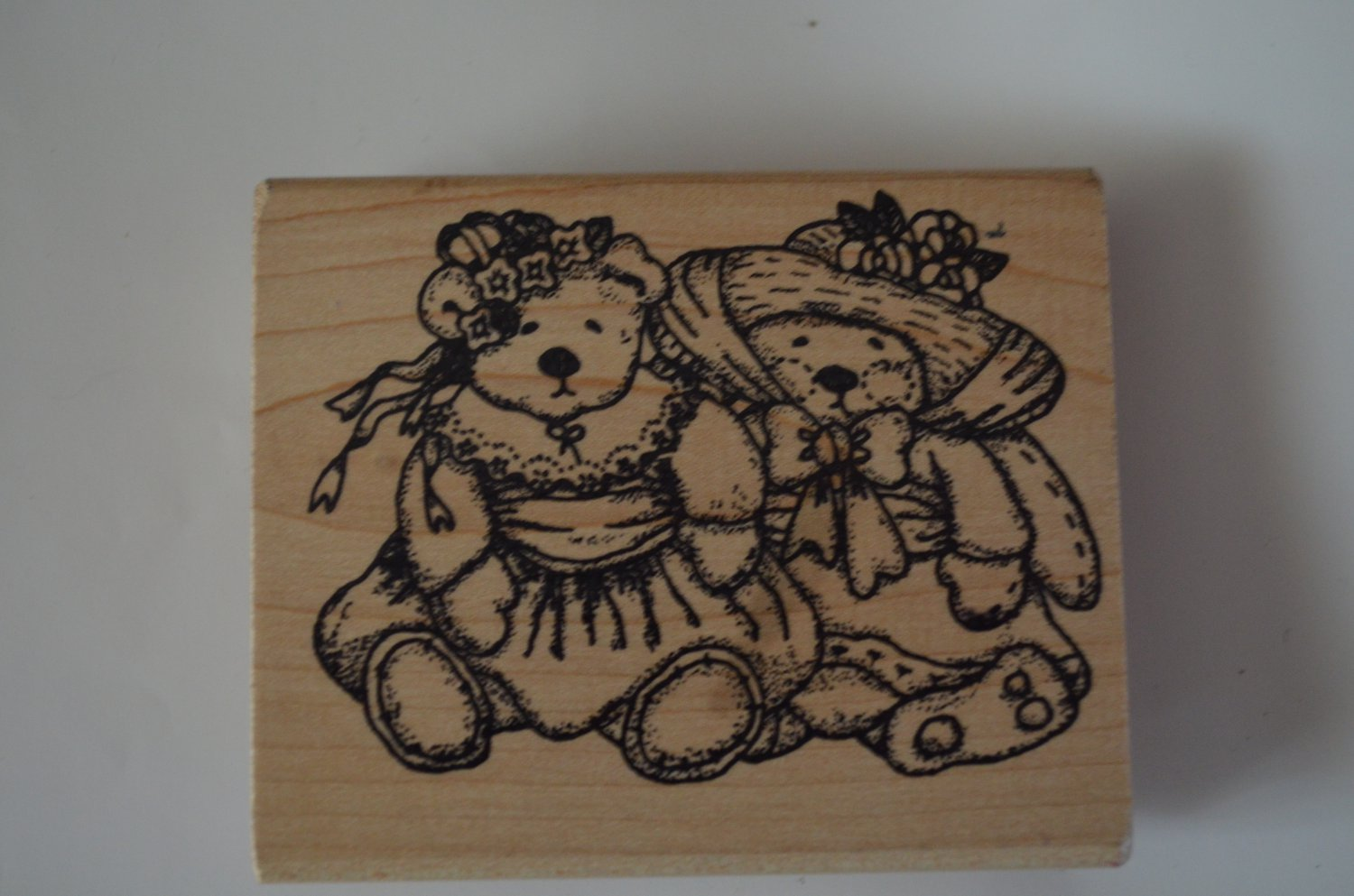 Imagine That Rubber Stamp Teddy Bears K-064 Wood Mounted