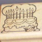 Rubber Stamp Birthday Cake With Candles