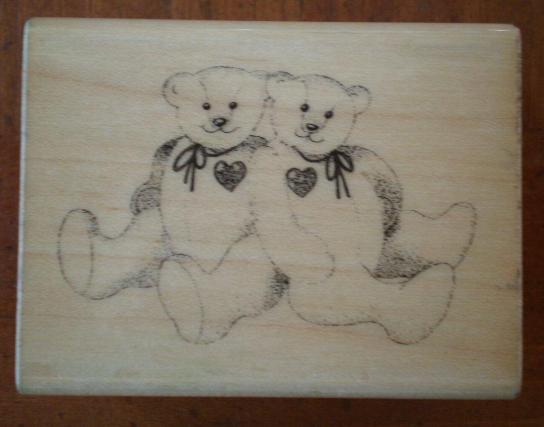 Teddy Bear Rubber Stamp Hero Arts Wood Mounted 1985 Vintage