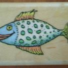 Fish Lips Rubber Stamp 489D All Night Media Wood Mounted 1989 Smiling