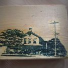 Mounted Rubber Stamp Old House Stable Trees Posts Wood