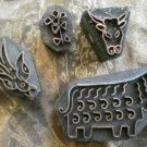 Copper Stamps Wood Mounted Animals Sheep Bull Bird Flower