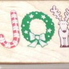 Rubber Stamp Joy 1992 All Night Media Christmas 631E Reindeer Wreath Candy Cane