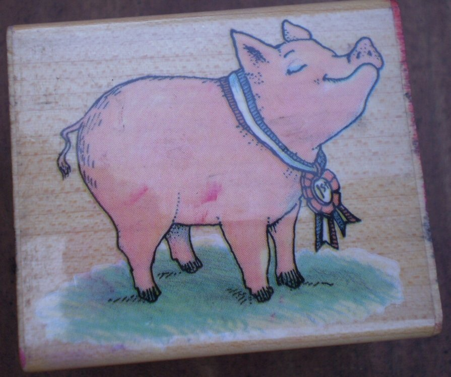 Rubber Stamp Prize Pig 169E All Night Media Mounted