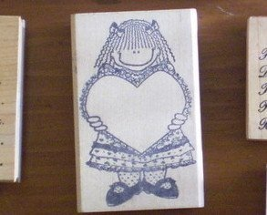 Love You To Bits Rubber Stamp Girl With Valentine Heart