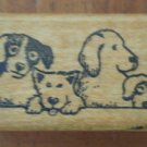 Puppy Border Dogs Rubber Stamp All Night Media 315E Wood Mounted Vintage Puppies
