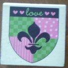 Rubber Stamp Fleur De Lis Love Shield CAKE brand Wood Mounted