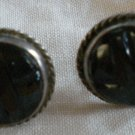 Sterling Silver Earrings Clip-On Hematite Vintage 11/18in