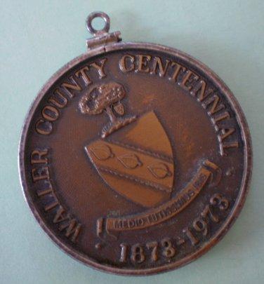 Vintage Souvenir Coin Fob Waller County Centennial 1973 Texas Brass Pendant