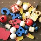 Wood Beads Jewelry Making Kids ABC Apple Teacher
