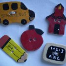 Buttons Ceramic Teacher Apple Bus Pencil Board School