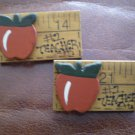 Lot 2 Vintage 1 Teacher Pin handmade wood ruler apple Brooch