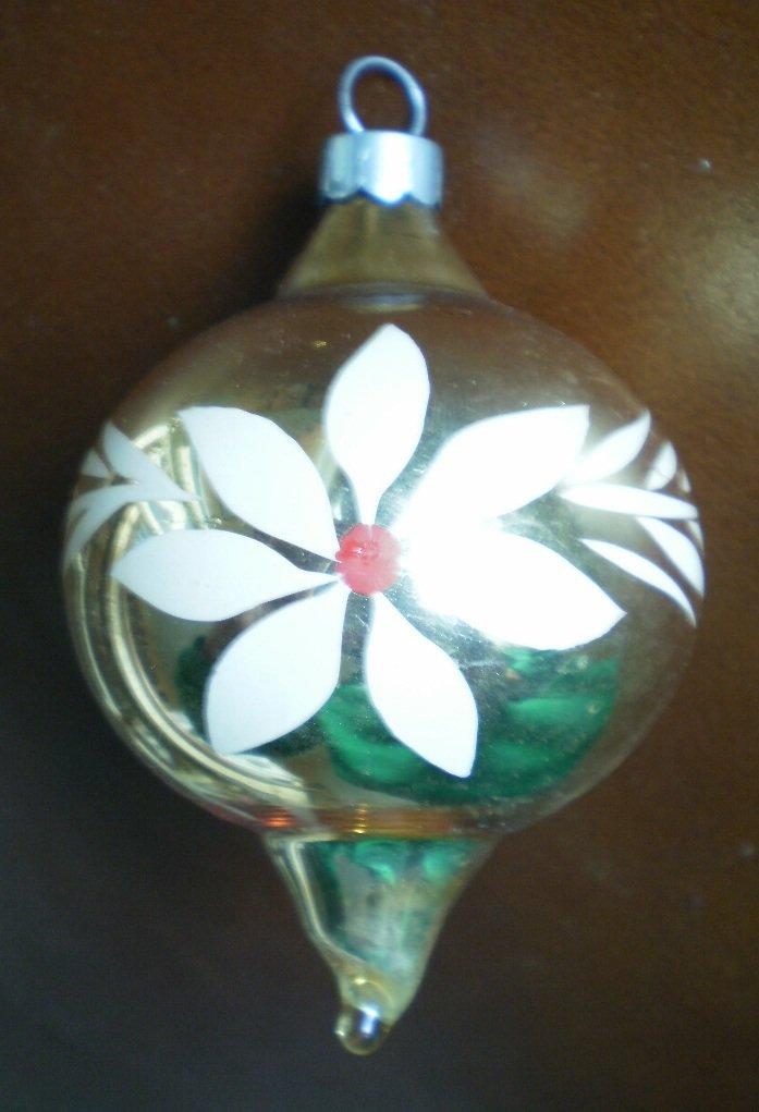 Vintage Glass Teardrop Ball Ornament Gold Stencil Flower Tear Drop USA