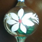 Vintage Glass Teardrop Ball Ornament Gold Stencil Flower Tear Drop USA