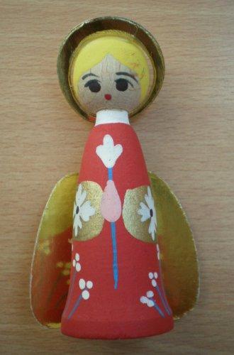 Vintage Ornament Angel Wood Body Painted Cherub Candleholder