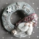 I've been very good Santa Claus Pin Old World Brooch Wreath