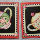 Mary Engelbreit Magnets Teapot Lot 2 ME Ink 1.75in Tea Pot Kettle