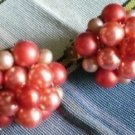 Vintage Cluster Bead Clip On Earrings Japan Red