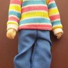 1988 Horsman Doll Man Figure Stripe Shirt Male Daddy 5 3/4