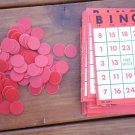Bingo Cards Markers Tokens Plastic Lot Vintage  Game Parts