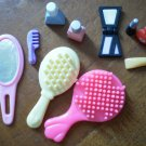 Barbie Size Lot 10 Vanity Accessories Brush Makeup Mirror Nail Polish Compact