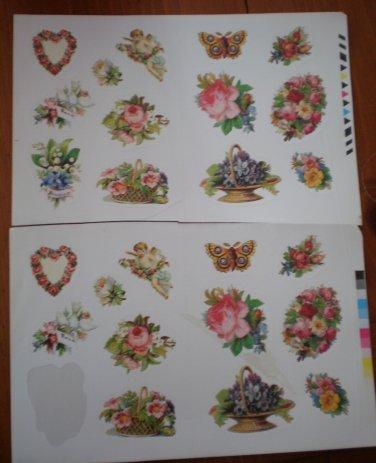 Vintage Stickers Victorian Bouquet Flowers Butterfly Heart 24pc