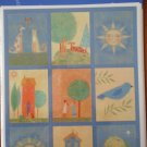 Hallmark Stickers Folk Art Whimsical Cats Dogs Trees 4 sheets NIP Acid Free