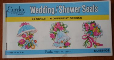 Wedding Shower Seals Stickers Eureka Paper Magic Company Vintage EU 85409