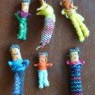Worry Dolls Miniature Handmade Guatemala 6/Basket Vintage