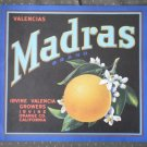 Valencias Madras Crate Label Irvine Oranges Vintage