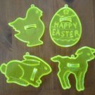 Amscan Cookie Cutters Yellow Easter Egg Chick Rabbit Lamb Lot 4 Vintage Plastic