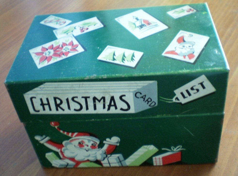 Christmas Card List Tin Box Vintage Index Card Container Green Metal Mayfair Co