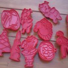Tupperware Red Plastic Cookie Cutters Lot 10 Pig Pumpkin